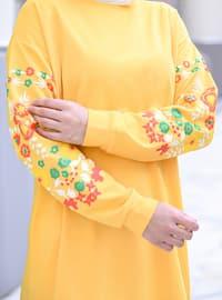 Crew neck - Floral - Mustard - Sweat-shirt