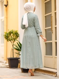 Sea-green - Polka Dot - Crew neck - Fully Lined - Modest Dress