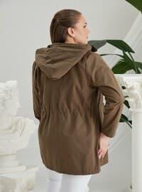 Khaki - Plus Size Trench coat