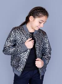 Leopard - Crew neck - Fully Lined - Pale Grey - Girls` Cardigan