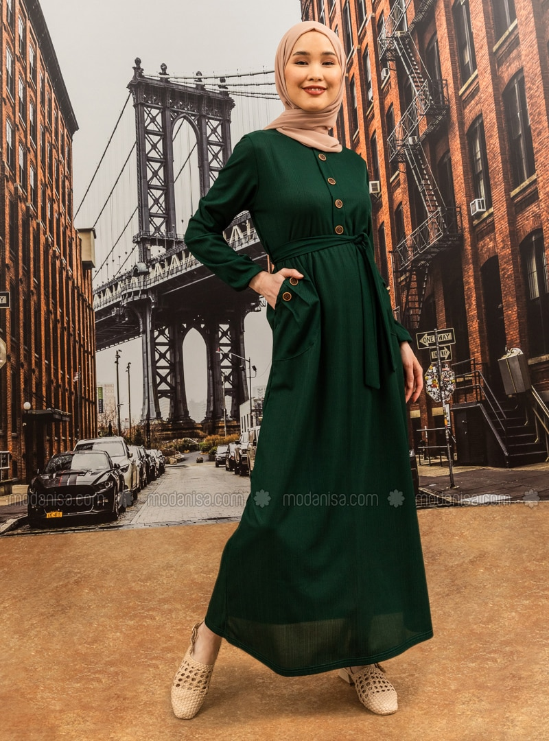 Emerald - Point Collar - Unlined - Modest Dress