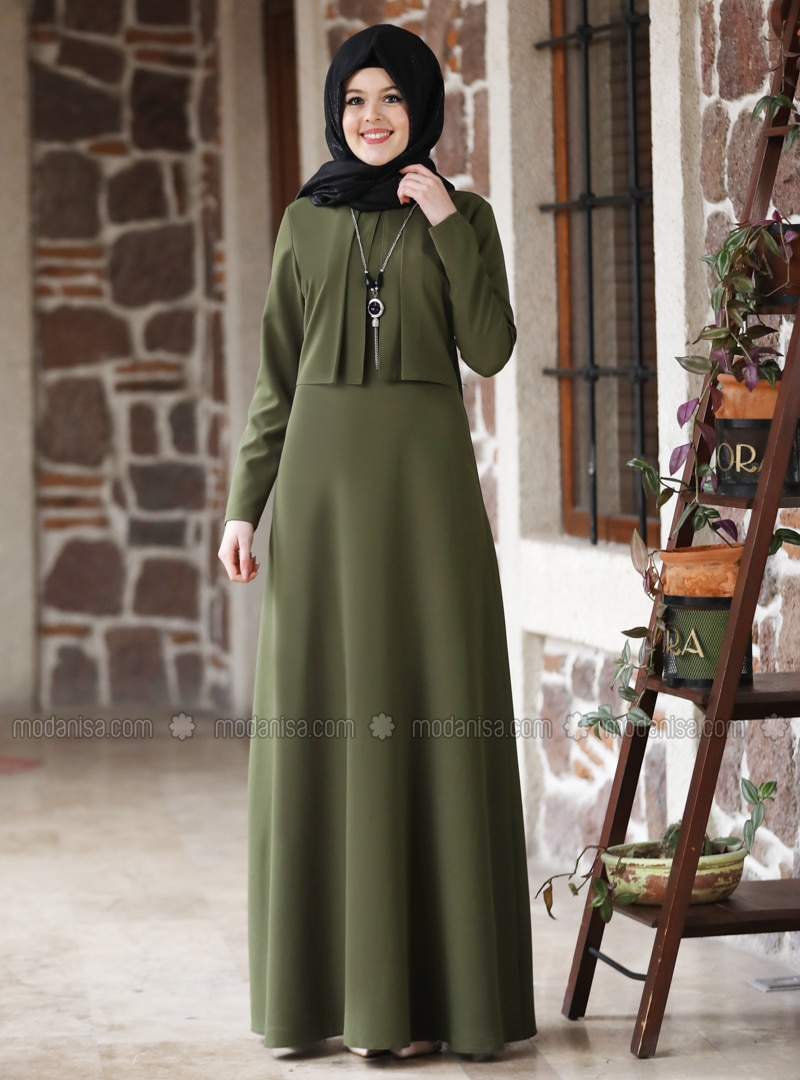Khaki - Khaki - Unlined - Point Collar - Modest Evening Dress