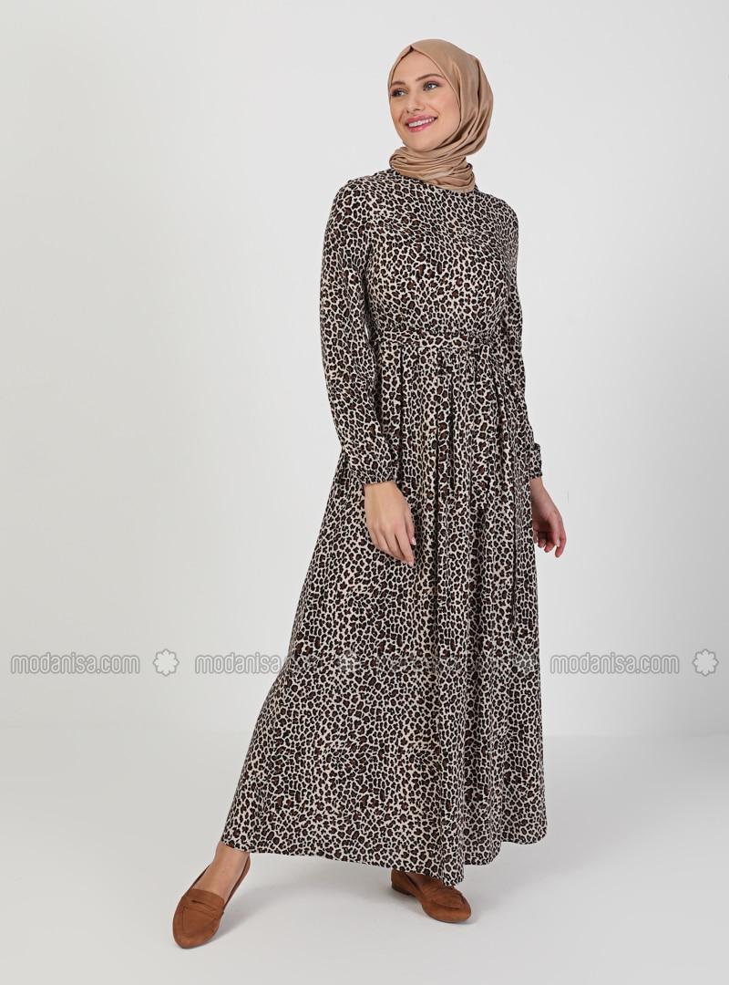Leopard - Floral - Crew neck - Unlined - Modest Dress