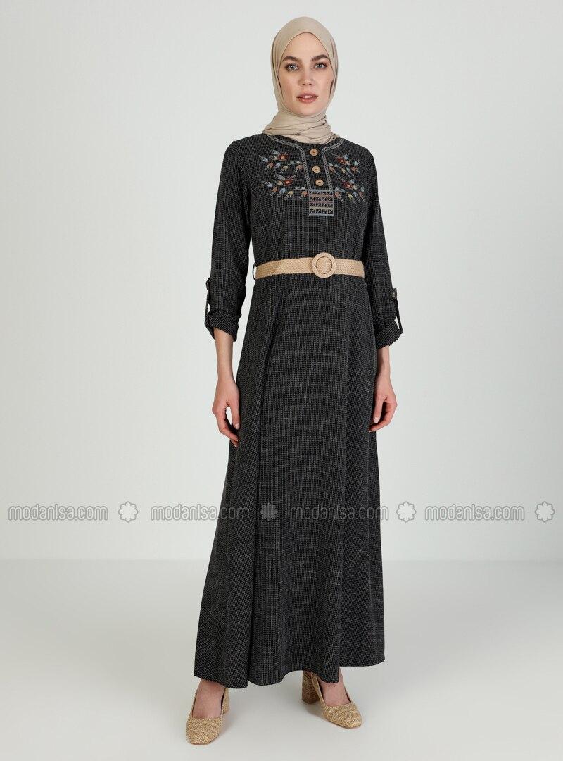 Black - Crew neck - Unlined - Modest Dress