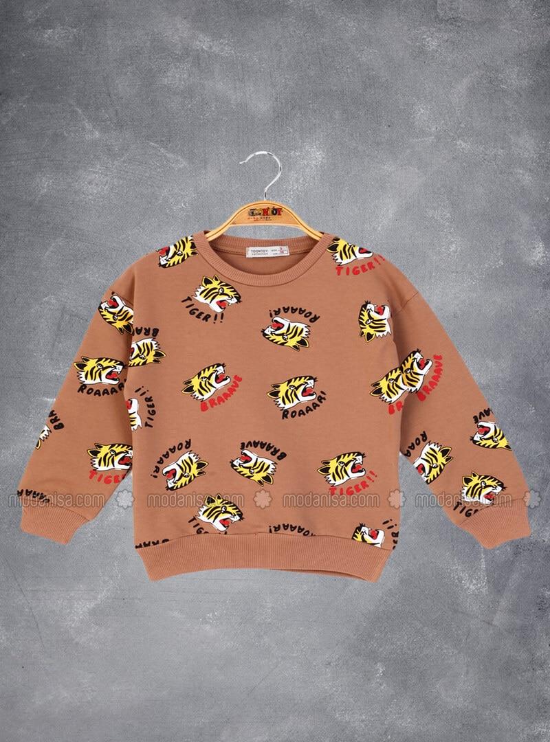 Printed - Crew neck - Unlined - Brown - Boys` Sweatshirt