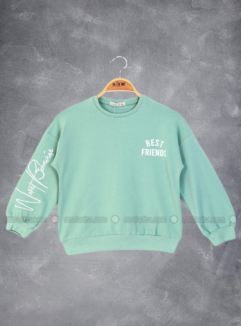 Printed - Crew neck - Unlined - Green - Girls` Sweatshirt
