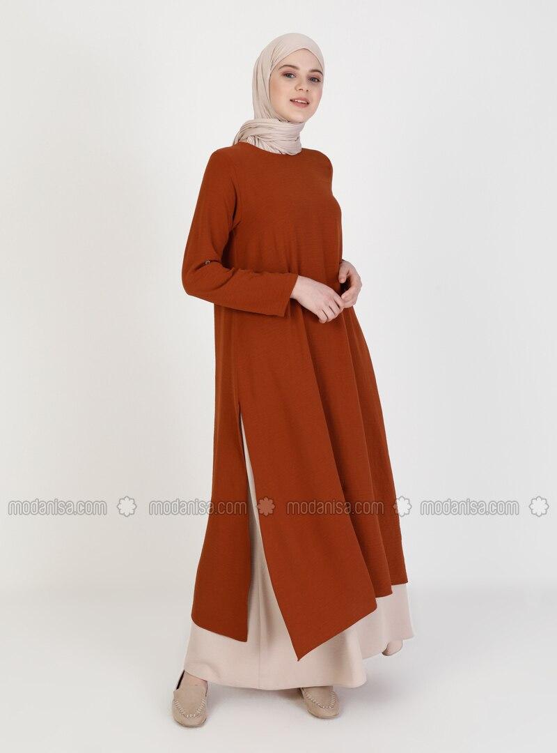Tan - Crew neck - Unlined - Modest Dress