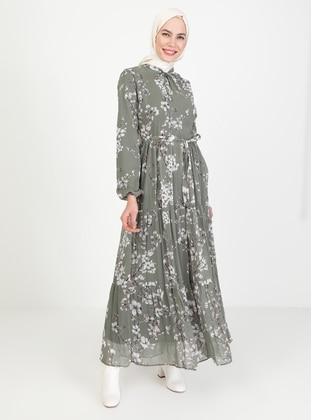 Khaki - Floral - Crew neck - Fully Lined - Modest Dress