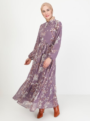 Lilac - Floral - Crew neck - Fully Lined - Modest Dress