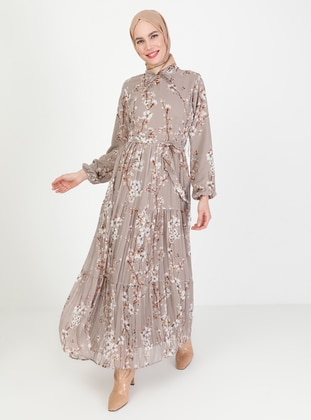 Mink - Floral - Crew neck - Fully Lined - Modest Dress