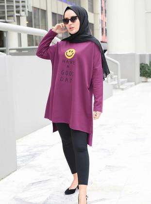 Crew neck - Printed - Purple - Sweat-shirt