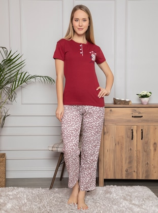Maroon - Crew neck - Multi - Pyjama Set - Fawn