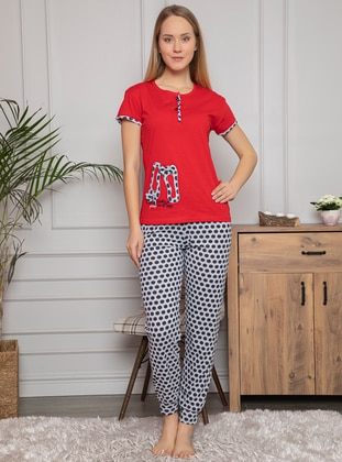 Red - Crew neck - Multi - Pyjama Set - Fawn