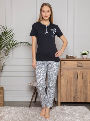 Navy Blue - Crew neck - Multi - Pyjama Set - Fawn