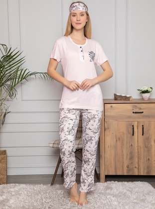 Pink - Crew neck - Multi - Pyjama Set