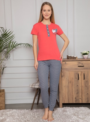 Coral - Crew neck - Stripe - Pyjama Set