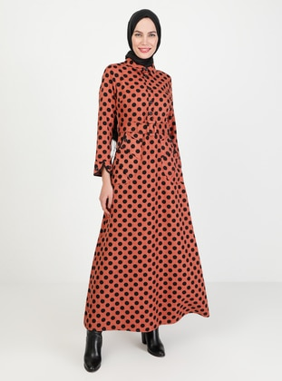 Terra Cotta - Polka Dot - Crew neck - Unlined - Modest Dress