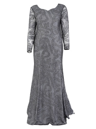 Gray - Fully Lined - V neck Collar - Modest Plus Size Evening Dress