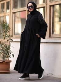 Black - Crew neck - Abaya