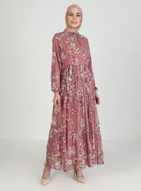 Dusty Rose - Floral - Crew neck - Fully Lined - Modest Dress