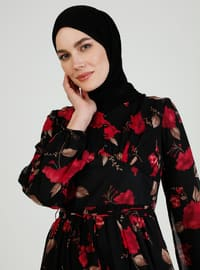 Maroon - Black - Floral - Crew neck - Fully Lined - Modest Dress