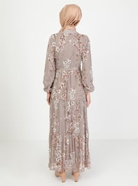 Mink - Floral - Crew neck - Fully Lined - Modest Dress