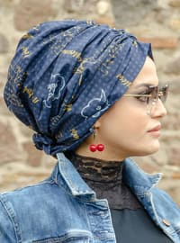 Navy Blue - Printed - Instant Scarf