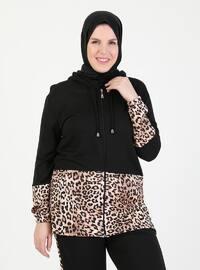 Black - Leopard - Crew neck - Plus Size Tracksuit Sets