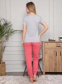 Gray - Crew neck - Multi - Pyjama Set