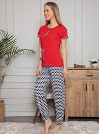 Red - Crew neck - Multi - Pyjama Set