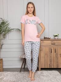 Light Pink - Crew neck - Multi - Pyjama Set