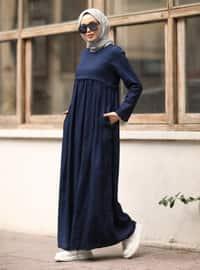 Lacivert - Yuvarlak Yaka - Elbise