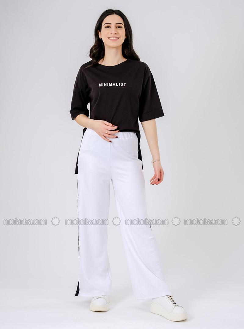 Green - White - Cotton - Pants