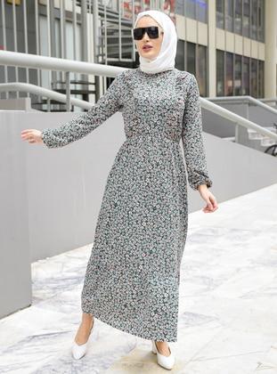 Green Almond - Floral - Crew neck - Unlined - Modest Dress
