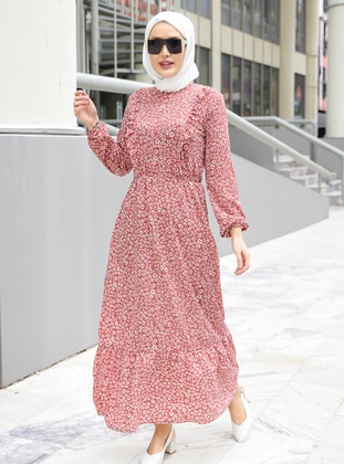 Pink - Floral - Crew neck - Unlined - Modest Dress