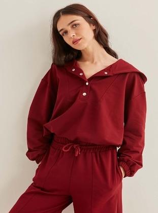 Maroon - Plus Size Sweatshirts - VİTRİN