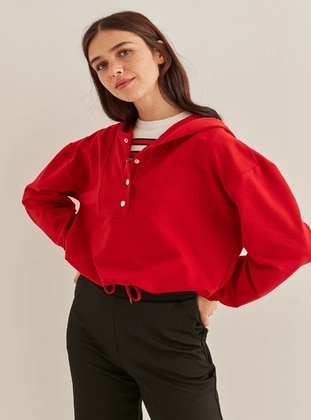 Red - Plus Size Sweatshirts - VİTRİN