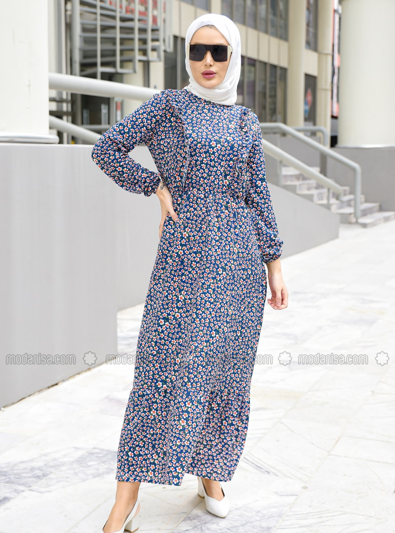 Saxe - Floral - Crew neck - Unlined - Modest Dress