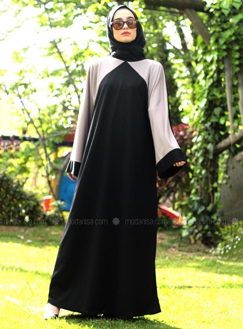 Black - Gray - Unlined - Black - Gray - Unlined - Abaya