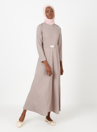 Mink - Crew neck - Unlined - Modest Dress