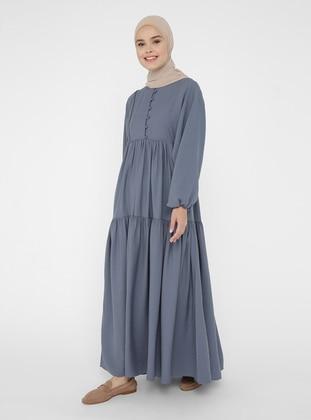 Indigo - Crew neck - Unlined - Modest Dress - Refka Casual