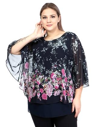 Fuchsia - Black - Floral - Crew neck - Plus Size Evening Tunics
