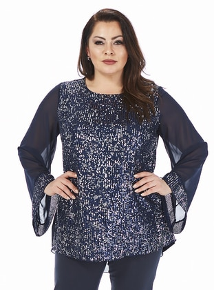 Navy Blue - Crew neck - Plus Size Evening Tunics