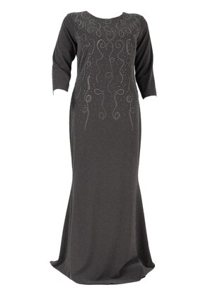 Smoke - Fully Lined - Crew neck - Modest Plus Size Evening Dress