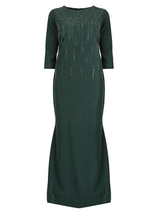 Emerald - Fully Lined - Crew neck - Modest Plus Size Evening Dress