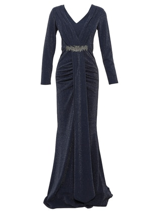 Indigo - Fully Lined - V neck Collar - Modest Evening Dress