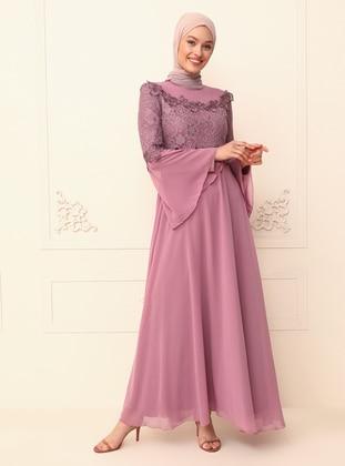 Dusty Rose - Unlined - Crew neck - Modest Evening Dress