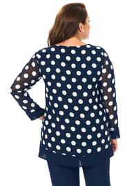 Navy Blue - Polka Dot - Crew neck - Plus Size Evening Tunics