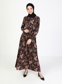 Black - Multi - Crew neck - Unlined - Modest Dress