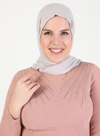 Pink - Fully Lined - Crew neck - Modest Plus Size Evening Dress